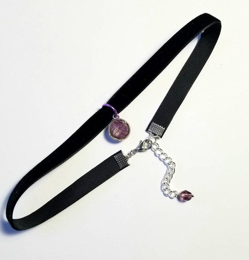 Black Choker Necklace,Purple Charm Velvet Choker Grunge Retro 90s Jewelry