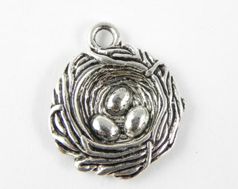 2 Bird Nest Pendant Charms - Silver Plated - 32mm x 28mm - 3D