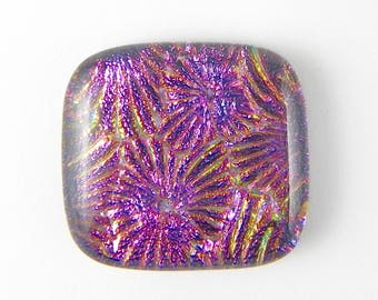 Dichroic Fused Glass Cabochon - Pink Blue - 17114 - 26mm x 24mm