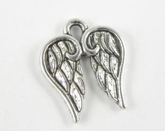 10 Angel Wings Charms  - 17mm x 14mm - Antique Silver