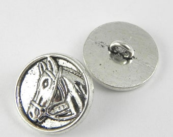 98011089b45 10 Horse Head Buttons - 15mm - Antique Silver - Round Buttons - Shank