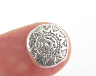 20 Sun Beads - 10mm x 10mm - Antiqued Silver - double sided - Organic shape - Carved Design