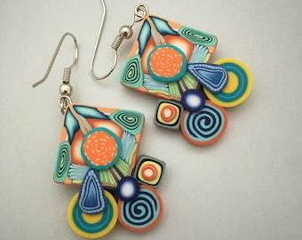 Happy Earrings, polymer clay earrings, drop earrings, dangle earrings