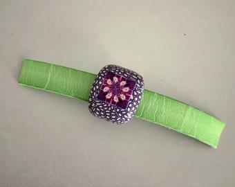 10x2mm hole- Regaliz Focal Bead, greek licorice, wide leather bracelet, licorice bead, focal bead, polymer clay regaliz bead, big hole bead