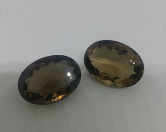 Smoky Quartz faceted oval pair