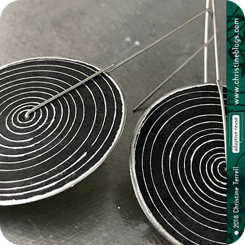 Big Tin Earrings Black Concentric Circles Recycled Tin Anniversary Gift