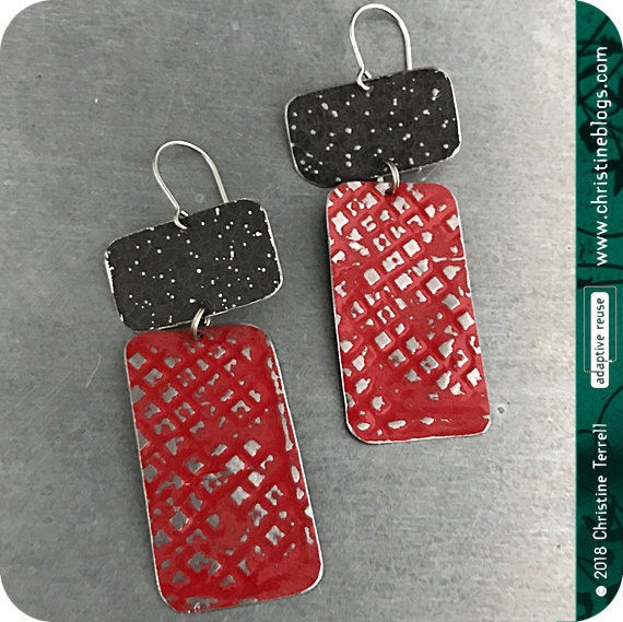 Deep Red /& Midnight Recycled Tin Earrings 30th Birthday Gift