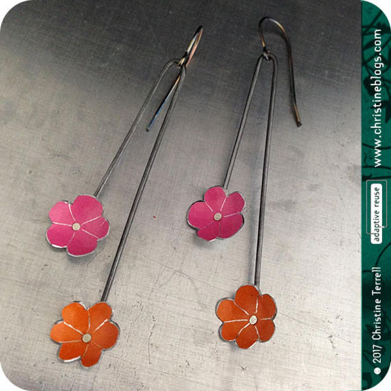 Tiny Flower Upcycled Tin Earrings Custom Colors Recycled image 0