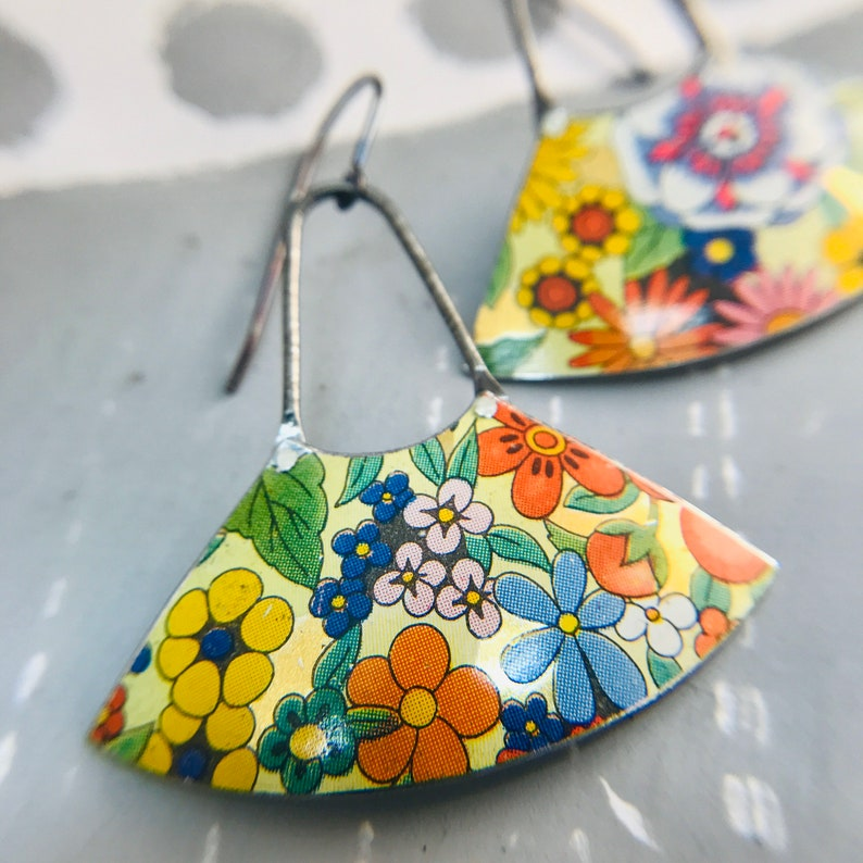 Allover Flower Fan Dangles Upcycled Tin Earrings 40th Birthday image 0