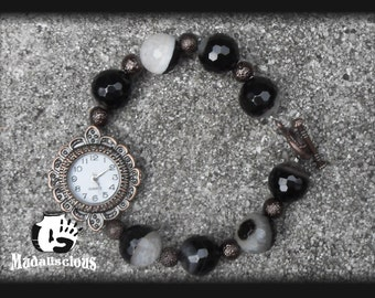 Black and White Toggle Watch Braclet