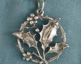 Holly Art Nouveau Sterling Silver Pendant Charm