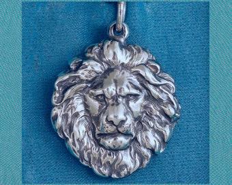 Lion Head Sterling Silver Pendant Charm