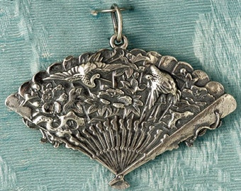 Large Fan with Cranes Sterling Silver Pendant