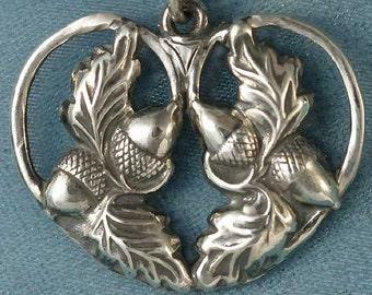 Acorns and Oak Leaf Heart Sterling Silver Pendant Charm