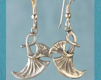 Art Nouveau Papyrus Lotus Gingko Leaf Sterling Silver Earrings