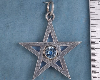 Large Victorian Star Sterling Silver and Faceted Blue Topaz Pendant