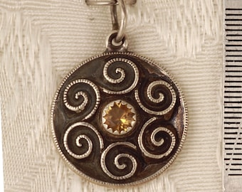 Celtic Spiral set with a Faceted Citrine Sterling Silver Pendant Charm
