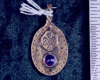 I Bring Good Luck, One of a Kind Rune Bronze Pendant, Set With a Faceted Garnet