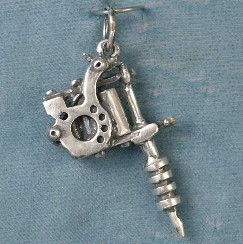 Small Tattoo Guns: Small Tattoo Gun Sterling Silver Pendant Charm