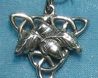 Acorns and Oak Leaves on a Celtic Triple Triangle Sterling Silver Pendant Charm