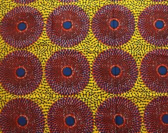 Yellow Ankara fabric, African fabric, 6 Yards, Record Ankara, Circle African print, Yellow Cotton fabric, GTP NuStyle, Ghanaian print fabric