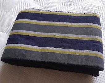 Blue Grey and Yellow Aso Oke, Woven Strip Fabric from Nigeria, Aso-oke Bundle