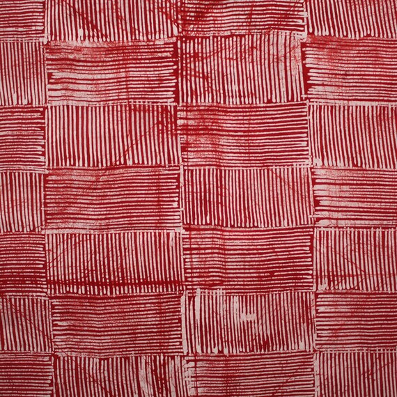 Rouge et blanc Batik, tissu africain rouge, rouge et blanc tissu, tissu Batik à la main, Adire nigérian, 4,8 yard Bundle, tissu africain