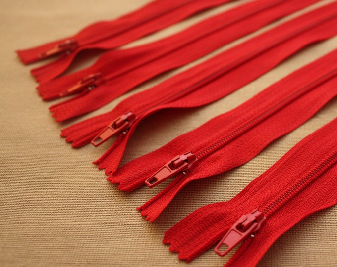 Red Close Ended Zips, 6 inch red zips