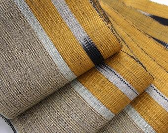 Mustard and Beige Aso oke, Woven Strip Fabric, Handwoven fabric, Modern Aso Oke Fabric by the metre
