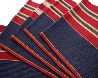 Dark Red and Blue Aso Oke, Woven Strip Fabric from Nigeria, Aso-oke