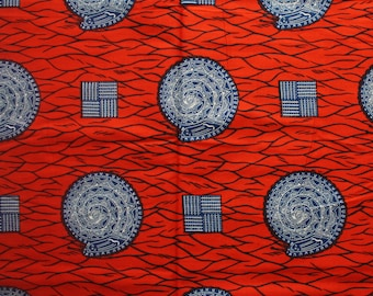 Red Ankara, Fabric by the Yard, African print, Ankara wax print, Big Snail, Ankara Fabric, Red and Blue Ankara, Wax Print, 100% Cotton