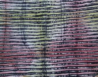 African Batik Fabric, Candy Lines Batik, Nigerian Adire, 2.4 Yard Length