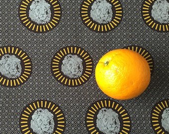 South African fabric, Shweshwe fabric, Lion Motif, Quilting Fabric, 100% Cotton, Three cats, Circle Print, Brown and Yellow fabric