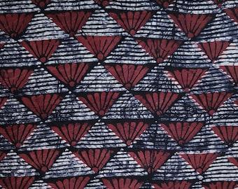 African Batik Fabric, Red and Black Batik, Nigerian Adire, 2.4  Yard Length