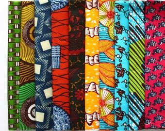 10 African Wax Print Fat Quarters, Patchwork fabric, Quilting fabric, Patterned cotton, fabric bundles, Ankara Fat Quarters