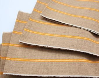 Aso-oke, Woven Fabric, African Textiles, Beige Aso-oke with Orange Stripes, Strip fabric, Yoruba material, Aso Oke Bundle
