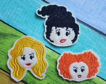 Halloween Witches Felties  (UNCUT FELTIE) Witch Sister Felties, Felt Embellishments, Felt Applique, Hair Bow Supplies