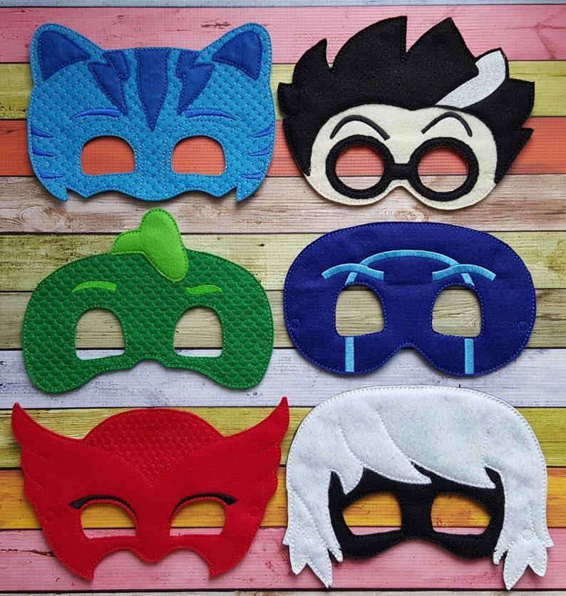Cat Bedtime Heroes and Villains Felt Masks Red Owl Blue Green Gecko