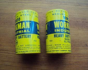 Vintage Workman Size D Industrial Batteries
