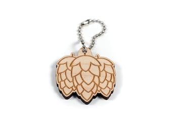 Hoppy Beer Hops Craft Beer Engraved Wooden Keychain