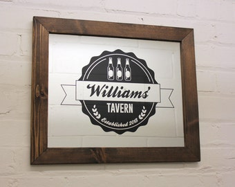 Personalized Bar Mirror - Cedar Framed Etched Family Tavern Mirror - Custom Engraved Mirror - Mancave Mirror with your Personalized Design