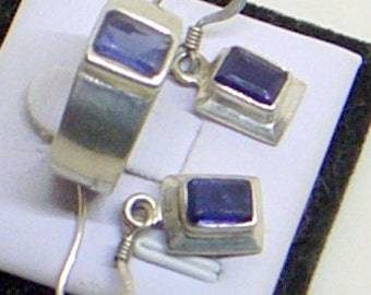 Vintage Amethyst Ring And Earring Set - Sterling Silver - 925 - Natural Deep Purple Amethysts - 6.5 - Quality - February Birthstone