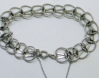 Vintage Sterling Charm Bracelet - Small Wrist - 6+ Inch Wrist - Fancy Link - Sterling Silver - Safety Chain - Great Condition - Signed