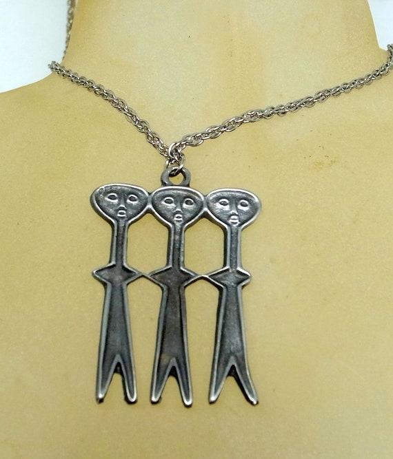 Vintage Brutalist Necklace - Pewter - Vintage Brut