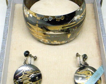 Vintage Sterling Cuff Bracelet AND Earrings - Oxidized Sterling - Japanese, Japan, Beautiful Scene And Craftsmanship - Original Box