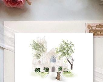 Wedding venue invitation, Watercolor Wedding Venue, With Pet Portrait, Wedding Invitation watercolor venue invite,