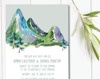 Mountain Wedding Invitation, Watercolor Wedding Invite - Printable