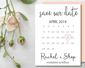 Wedding Save The Dates Etsy NZ - Save the date calendar template