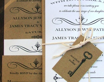 Rustic Wedding Invitation, Shabby Chic Wedding Invitation, Whimsical Wedding Invitation