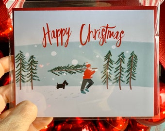 Illustrated Christmas Card, watercolor Holiday card, Scottie dog card